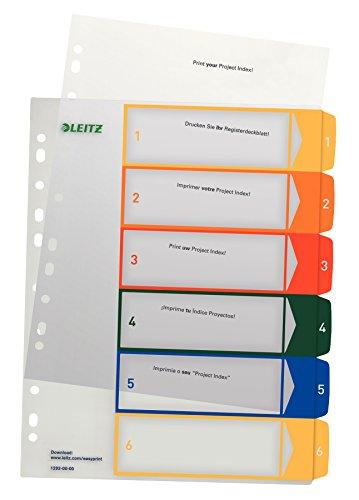 Leitz Register für A4, PC-beschriftbares Deckblatt und 6 Trennblätter, Taben mit Zahlenaufdruck 1-6, Überbreite, Weiß/Mehrfarbig, Polypropylen, 12920000