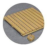 WEIWEIMITE Baño Ducha Matera de baño Inicio Antideslizante Durable SPA Pedal Mats Cuadrado Natural Solid Teak Wood tarima de Madera para Ducha (Color : A, tamaño : 60x80cm)