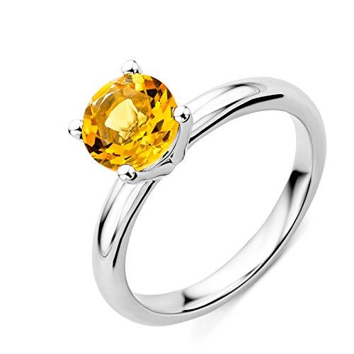 Miore Damen Solitär-Ring, 9 Karat Weißgold Citrin