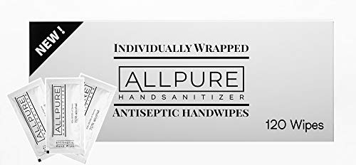 ALLPURE BRAND 120 Individually Wrapped Antiseptic Hand Wipes...