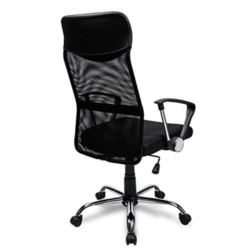 Bürostuhl Schreibtischstuhl Bürodrehstuhl Ergonomischer Computertishch und Stuhl Gaming Stuhl Design Chefsessel mit Kopfstütze, Netzrücken/Wippfunktion/Feste Armlehne/Höhenverstellbar (schwarz)