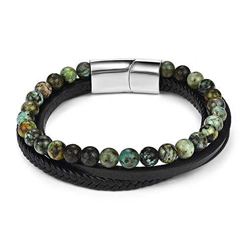 Jewellery Bracelets Bangle For Womens Natural Stone Multilayer Leather Bracelet For Men Fashion Stainless Steel Clasps Wristband New Jewelry-Multilayer_Turquoise_22Cm