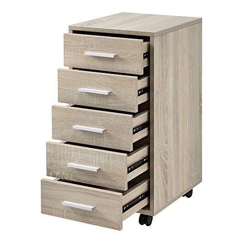 [en.casa]] Armario de Oficina 63 x 33 x 38cm Mueble de Oficina Gabiente de Archivos 5 cajones Roble