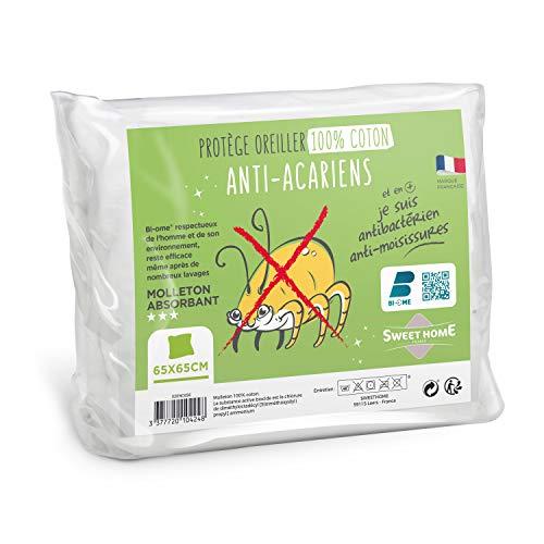 Sweethome | Protège Oreiller Anti Acariens - 65x65 cm - Molleton 100% Coton - Doux et Confortable - Lavable en Machine