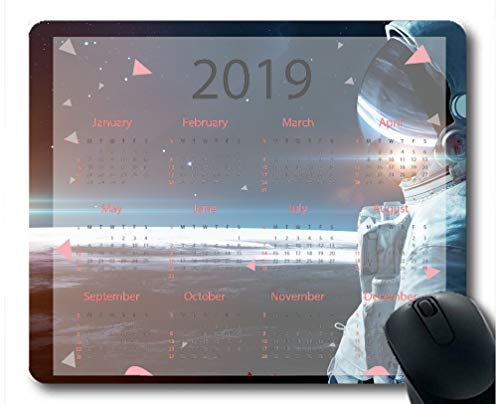 Flying Pig Man 2019 Calendar Pads,Space Astronaut Sunrise Starry Sky Planet Surface Gaming Mouse mat ?Multi 95?