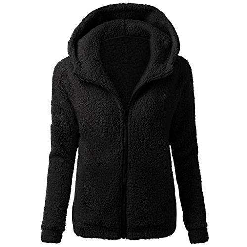 SHOBDW Mujeres de Invierno de Lana cálida Cremallera Abrigo con Capucha suéter Abrigo de algodón Outwear (Negro A, S)
