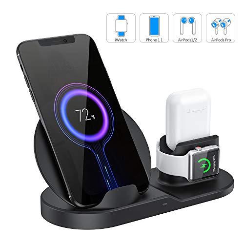CABLETRANS 3-in-1-Kabelloses Ladegerät für Phone/i-Watch/AirPods,Magnetische Ladeständer Handy,Qi Wireless Charger Schnellladestation für Phone 11Pro X XS MAX 8 Plus,Samsung und alle Qi-fähigenphones
