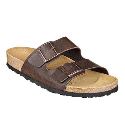 JOE N JOYCE LONDON Unisex Sandals for Men & Women, normal width, Size: W7/M5 US, Brown, SynSoft, two strap, 2 band, Girls, Boys, Ladies