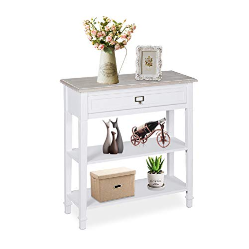 kinsuite White Console Table Entry Hallway Tables with Drawer and Storage Shelf Accent Sofa Table for Entryway Living Room, Bedroom