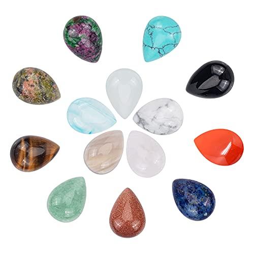 PandaHall 28 cabujones de 14 colores de lágrima de piedra natural lapislázuli de cuarzo rosa, cabujones de cristal para pendientes, collares, pulseras y bisutería.