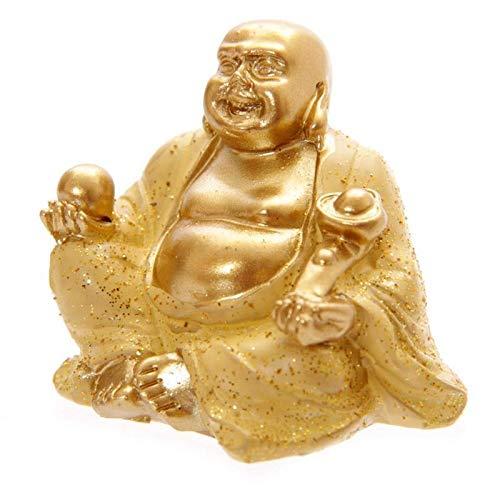 Vertrieb durch Poster38 Mini Glitzer Glücks-Buddha Gold 4 cm