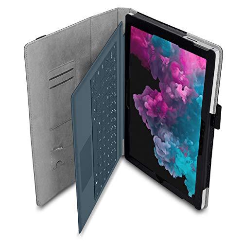 NAUC Microsoft Surface Pro 7-6 - 4-3 - 2017 Tablet Cover Tasche mit praktischer Stand Funktion Case Kunstleder Hülle Case Schwarz