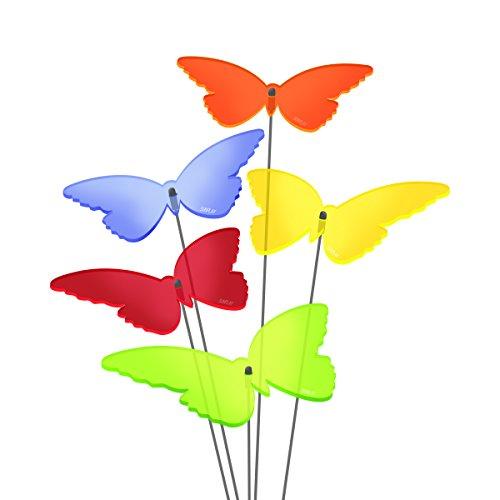 """SUNPLAY Sonnenfänger \""""Schmetterlinge Isabelle\"""" im FARBMIX, 5 Stück zu je 10 cm Durchmesser im Set + 35 cm Schwingstäbe"""