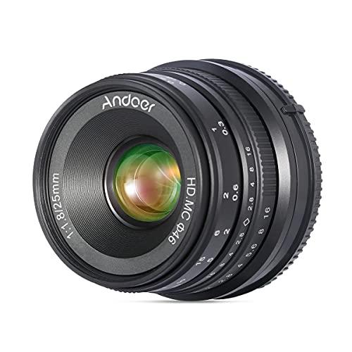 Andoer 25mm F1.8 APS-C Obiettivo Grandangolare con Messa a Fuoco Manuale ad Ampia Apertura Sony Attacco E per Fotocamera Mirrorless Sony