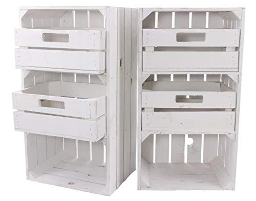 2X Vintage-Möbel 24 Weiße Regalkiste mit 2 Schubladen 68cm x 40cm x 31cm Obstkisten Schrank Holzbox Shabby chic Weiss Nachttisch DIY modern Möbel Garten Weinkisten