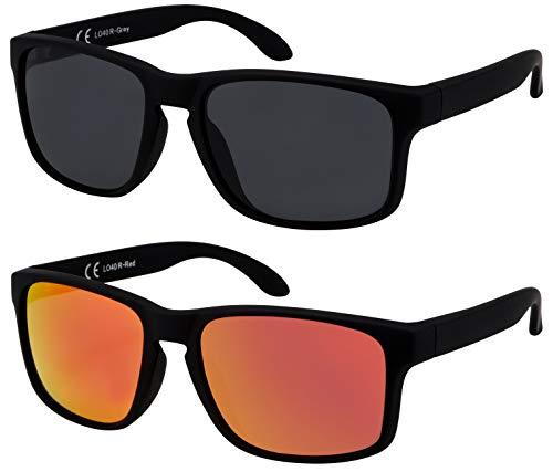 La Optica B.L.M. Sonnenbrille Herren UV400 Retro Retro - Doppelpack Set Gummiert Schwarz (1 x Grau, 1 x Rot Verspiegelt)
