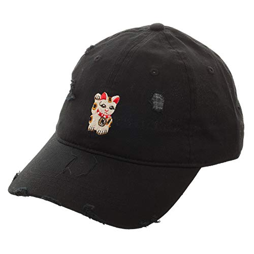 Free Authority Maneki-Neko Chinese Japanese Lucky Cat Distressed Ball Cap Hat Black