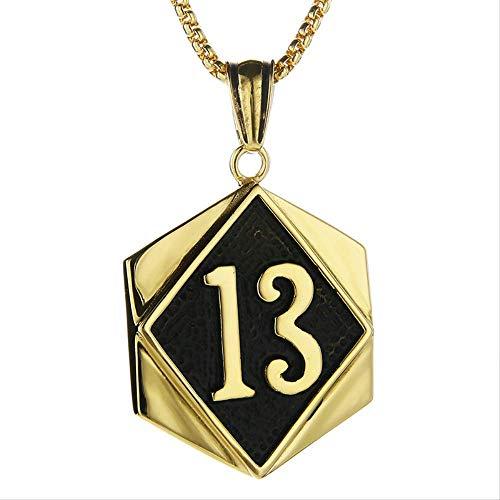 Collar con Colgante De Etiqueta Número 13 De La Suerte De Motorista Dorado con Cadena De 23, Collares Punk De Acero Inoxidable, Regalo