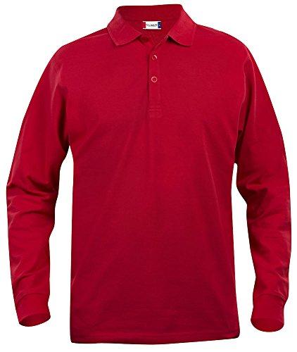 Clique, Herren Poloshirt, langärmelig S bis 5 XL, Grau Gr. XXL, rot