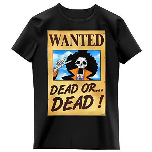 T-Shirt Enfant Fille Noir Parodie One Piece - Brook Wanted - Un Wanted Qui Tue !! YOHOHOHO !!! (T-Shirt Enfant de qualité Premium de Taille 3-4 Ans - imprimé en France)