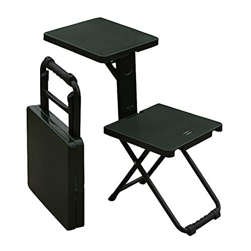 Field Troops Soldier Silla plegable multifuncional plegable taburete portátil al aire libre Maza individual Aprendizaje escritura silla comer robusta (Color: A-verde)
