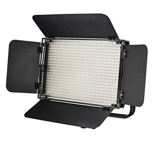 Walimex pro Niova 600 Plus Bi Color – LED Videoleuchte Dauerlicht Flächenleuchte, 36 Watt, 600 LED, dimmbar, 3200-5600K, 4.200 Lumen, CRI ≥ 97 Ra, DMX + Fernbedienung, 2X NP-F Akku Slots + Netzteil