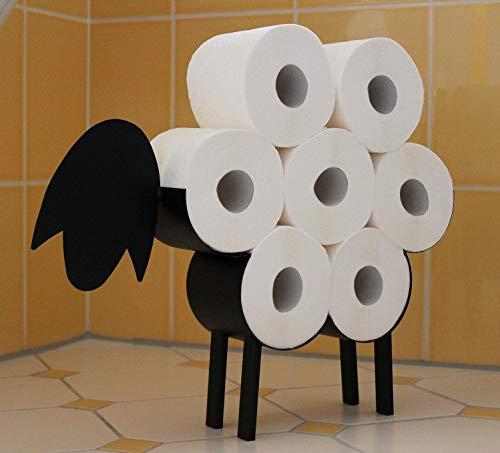 DanDiBo Toilettenpapierhalter Schwarz Metall Schaf WC Rollenhalter Freistehend WC Papierhalter Toilettenrollenhalter 3