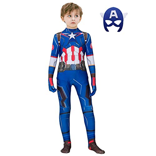 The Captain America Kids Bodysuit Superhero Costumes Lycra Spandex Halloween Cosplay Costumes(Captain America,120)