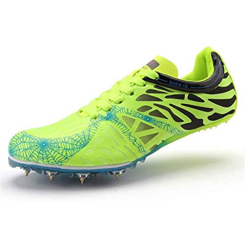 Pista De Hombres Y Zapatos De Campo, Competencia Transpirable Liviana Zapatos Deportivos Joven Atletismo Al Aire Libre Sprint,Verde,35
