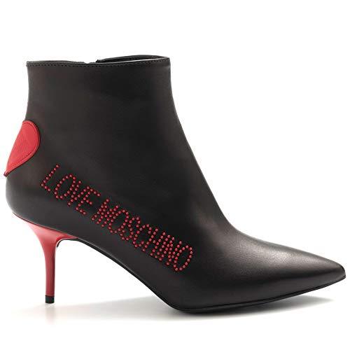 Love Moschino laarzen zwart met klinknagels en rode hakken - JA21027G18 IBL 000 zwart - maat