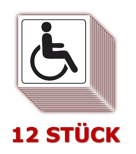 12 Stück - Folienaufkleber Behinderten WC Größe 5 x 5 cm - für innen und außen geeignet ( 509k ) - WC Rollstuhl geeignet