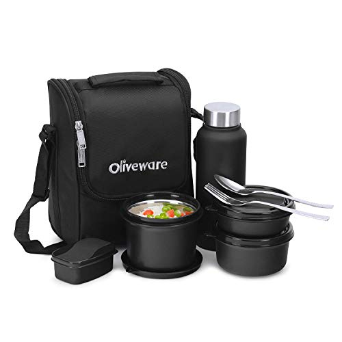 oliveware Teso Pro Lunch Box with Bottle 3 Stainless Steel Containers Plastic Pickle Box Steel Spoon & Fork Insulated Fabric Bag Leak Proof Microwave Safe Full Meal Easy to Carry (Black)