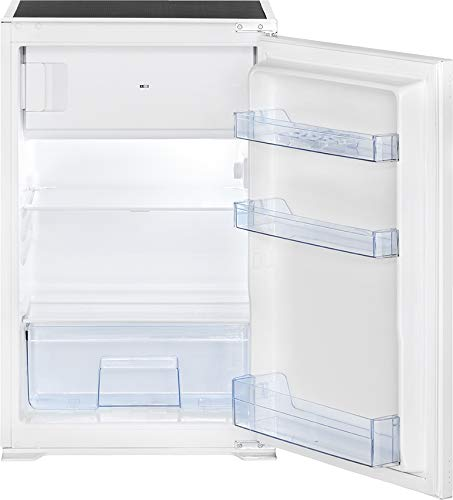 Bomann KSE 7805 Einbau-Kühlschrank, 118 Liter gesamt (104 L Kühlen; 14 L Gefrieren), LED Innenraumbeleuchtung, 4 Sterne-Kennzeichnung, weiß