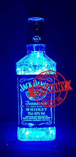 Lampe aus Jack Daniel Flasche - Flaschenlampe mit 100 LEDs Blau Upcycling Geschenk Idee