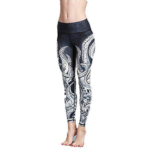 Damen Leggings,Morbuy Sport Gym Yoga Workout Pants Basic Fitness Hohe Taille Jogginghose Trainingshose Skinny Hosen Hose Sporthose (XL, Oktopus)