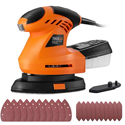 TACKLIFE Detail Sander 1.67A, Advanced 360° Rotatable Sanding Pad, Electric Sander with Sturdy Dust Collection Container, 200W 12000RPM Mouse Detail Sander, 3 Meter Cord, DIY | PMS02B