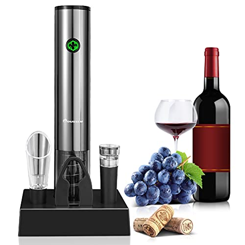 Sacacorchos Eléctrico Profesional, Abridor de Botellas de Vino Eléctrico Recargable 5 en 1, Abridor de Vino Inalámbrico con Cortador de Papel de Aluminio, Vertedor de Vino, Tapón de Vino al Vacío