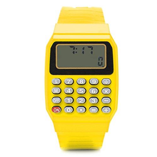 RK-HYTQWR Mode Kind Kind Silikon Datum Mehrzweck Elektronischer Taschenrechner Armbanduhr, Gelb Elektronischer Taschenrechner Uhr, Gelb