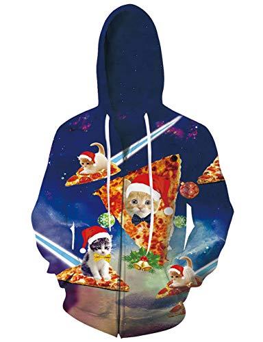 ALISISTER 3D Weihnachten Pizza Katze Grafik Hoodies Kapuzenpullover Reißverschluss Sweatshirt Herren Damen Coole Pullover Kapuze Jacke mit Tunnelzug Taschen XXL