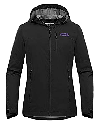 Outdoor Ventures Packable Rain Jacket Women Lightweight Waterproof Raincoat with Hood Cycling Bike Jacket Windbreaker Black