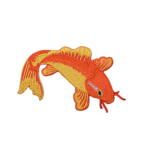 Orange/Yellow Koi Fish - Ornamental Carp - Iron On Embroidered Applique Patch