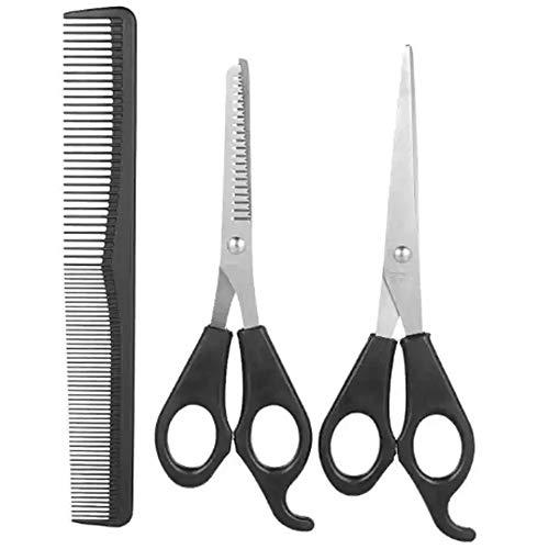Hair Cutting Scissors Thinning Teeth Shears Set with Hair Comb-Black Barber Razor Edge Scissors Stainless Steel Barber Hairdressing Salon Hair Cutting Shears,Hair Cutting Kit for Kids Men Women