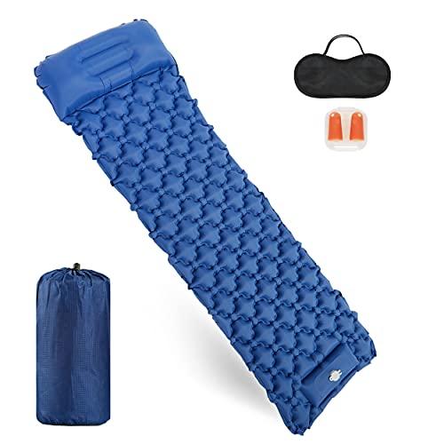 Mondeer Camping Isomatte mit Kopfkissen, Selbstaufblasbare Schlafmatte Fußpresse Aufblasbare, Campingmatte zusammenklappbar, spleißbar, Ultraleicht und tragbar,für Camping, Reisen, Outdoor, Blau