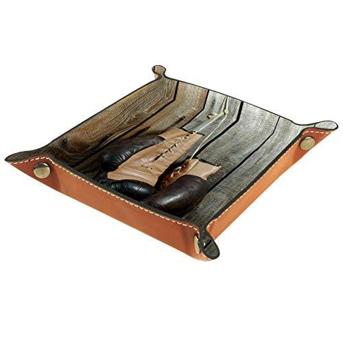 Bennigiry Valet Tablett braun alte Boxhandschuhe Druck Leder Schmuck Tablett Organizer Box für Geldbörse, Uhren, Schlüssel, Münzen, Handys und Bürogeräte, Mikrofaser-Leder, Multi, 16 x 16 cm