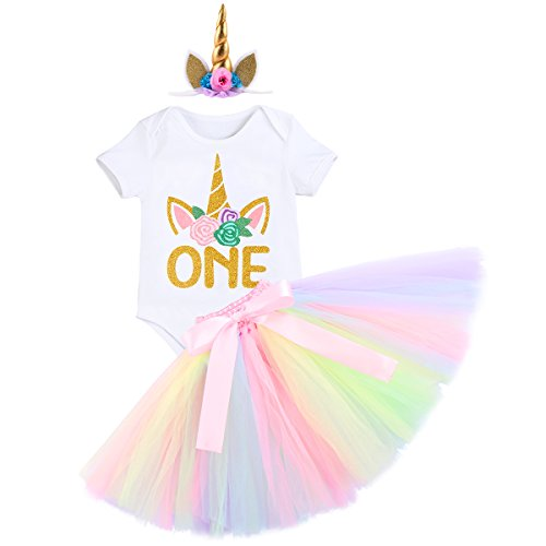 IWEMEK Bebé Niñas Primer Cumpleaños Princesa Unicornio Trajes de Fiesta 3pcs Conjunto de Mameluco + Falda de Tutú Colorida + Corona/Unicornio Diadema Carnaval Ceremonia Disfraz Sesión de Fotos