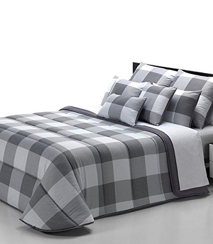 Relleno Nórdico COLORS ,cama de 90 y 105 , tacto seda CUADROS, 180 X 220 CM . Reversible estampado GRIS, - Isaire hogar.