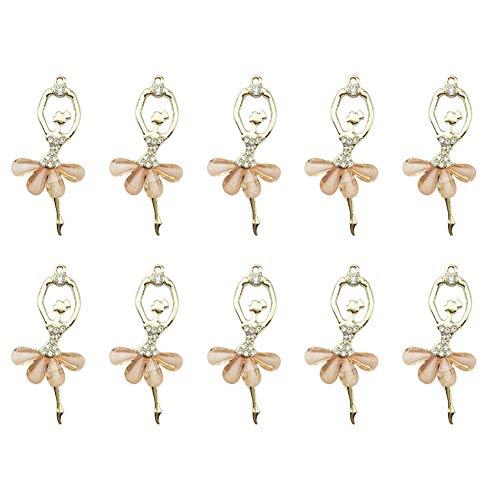 Weanty Lot de 10 pendentifs pour danseuse de ballerine dansante Convient pour la fabrication de bijoux DIY Kit de fabrication de bracelets, colliers, porte-clés, Alliage, champagne, 3*6cm