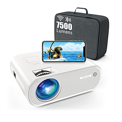 Projector, TOPTRO Projector with WiFi and Bluetooth, Full HD 7500 Lumen Support 1080P, Mini Projector with Carrying Case, Compatible with TV Stick, HDMI, SD, AV, VGA, USB, PS4, X-Box, iOS / Android