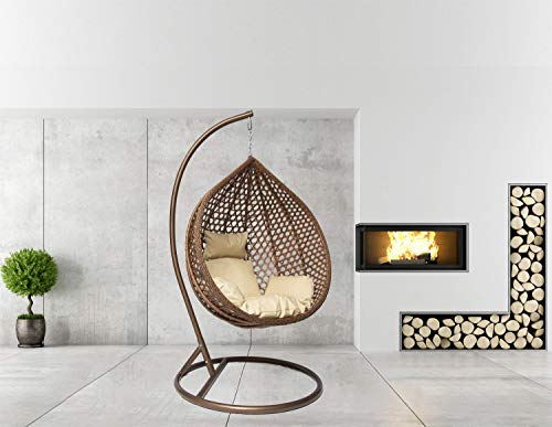 Goods Emporium Hanging Rattan Egg Swing Chair Patio Garden Cocoon Relaxing Hammock with Cushions (Large, Brown - Brown -...