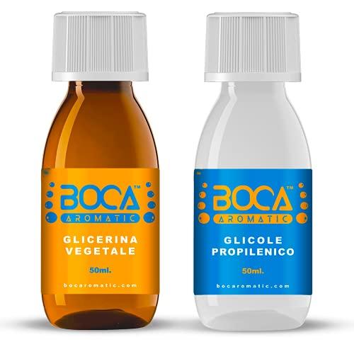Boca Aromatic – Kit de base neutra 100 ml – 50 VG/50 PG – glicerina vegetal (99,98 %) + glicol propilénico (99,7 %) – 100 % fabricado en Italia – Pureza farmacéutica certificada.